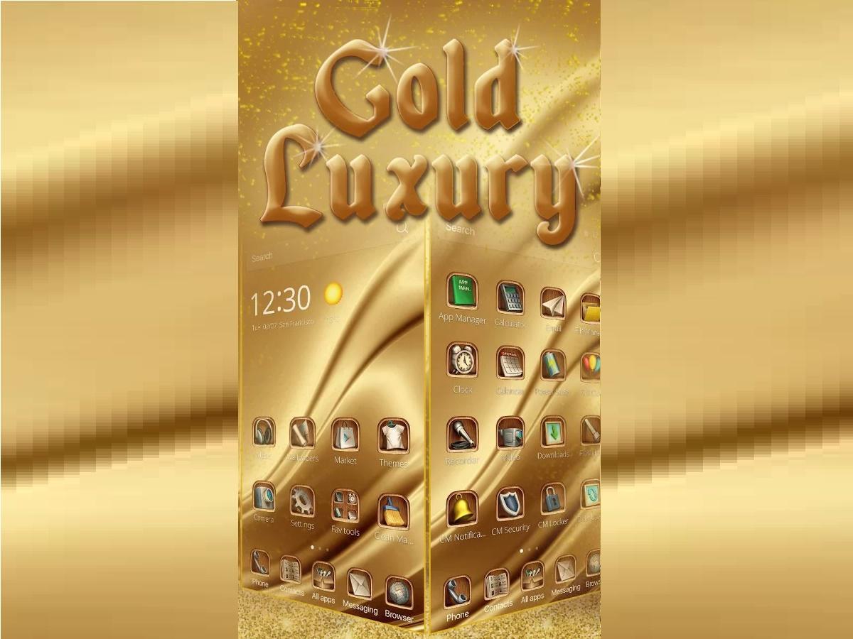 тема Gold Luxury Theme Deluxe для телефона с 3d